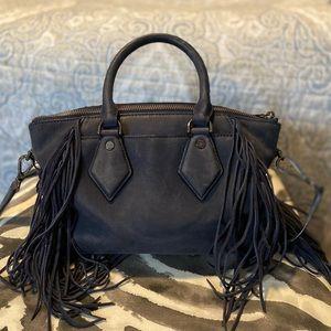 Diane von Furstenberg blue suede fringe bag